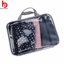 Fashional plastic travel tote pouch waterproof pvc handle bag with ziplock
