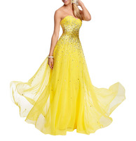 evening dress 2016 heavy bead/ sequin yellow Prom Dresses night elegant dress for girls