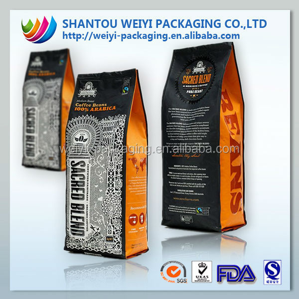 custom printing aluminum foil coffee bag with valve/ Coffee beans packaging bags 250g 500g 1000g 1kg wholesale