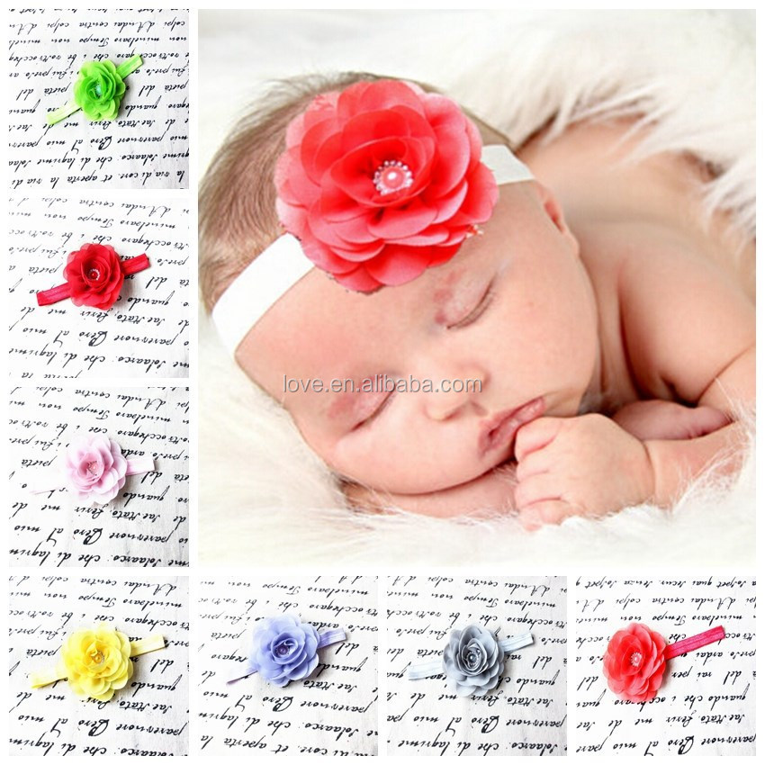 "Boutique 3"" rose chiffon rhinestone flowers felt infant headbands, Beatuiful baby shower hairbands cute hair accessories"