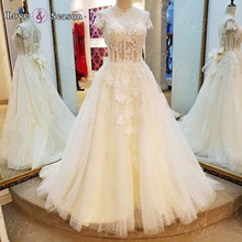 LS93578 A line tulle light champagne clips cap sleeves rhinestone appliques wedding dress 2016 bridal