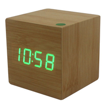 zogift Multicolor Cube LED Wooden Alarm Clock Modern Sound Control Square Desktop Table Digital Thermometer Wood