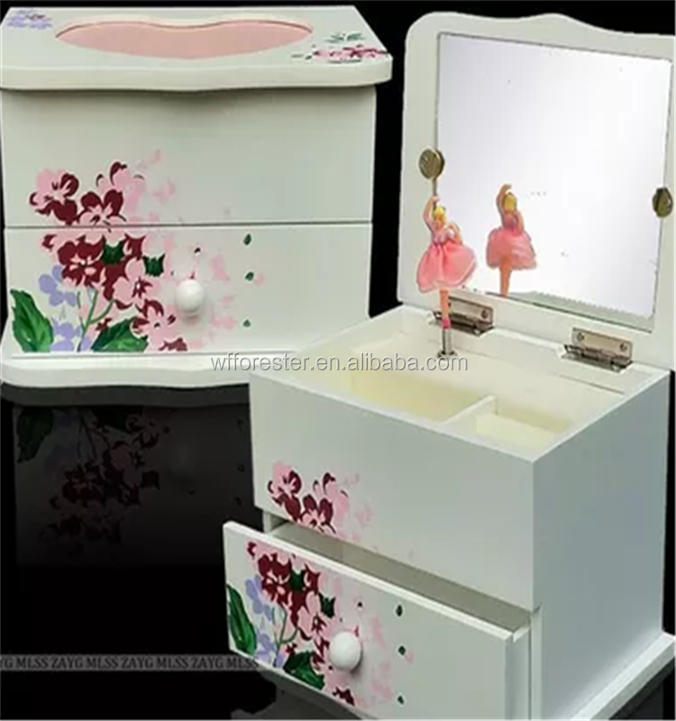 wholesale high quality multifunctional wooden ballerina music box jewelry box