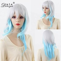Purple Blue Long Curly Anime Cosplay natural girls hair wig
