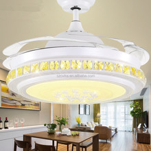 220V contemporary 42 inch remote control LED invisible blade ceiling fan light for restaurant