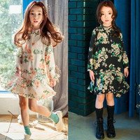 Children Clothing 2016 Girls Party Wear Western Kid Floral Dress With Lace Printed Vestido