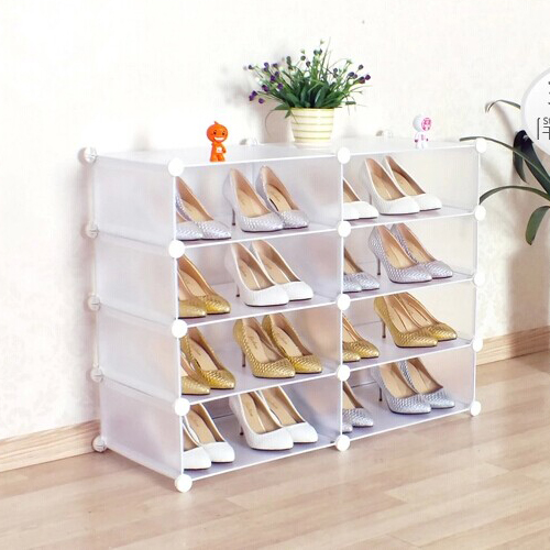 Transparent White color portable diy shoe cabinet assembled by panels and connectors(FH-AW012810)