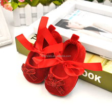 In stock wholesale bowknot Princess baby girl shoes soft plush indoor shoes mary jane shoes