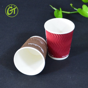 Disposable 8oz Red Ripple Paper Cup for Hot Tea and Coffee