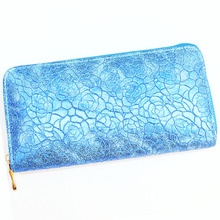 New fashion beautiful blue flower printing PU leather lady wallet with good quality