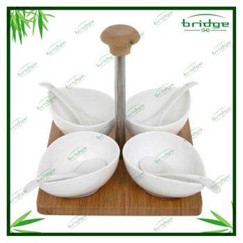 Kitchen accessories 4 dish set bamboo stand