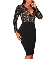 OASAP 2016 New Spring Women Black Lace Nude Illusion Long Sleeve Bodycon Dress Vintage Slim Sexy V Neck Midi Party Dress-97690