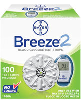 Bayer Breeze2 Blood Glucose, 100 Test Strips