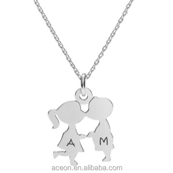Yiwu Aceon Stainless Steel Girl And Boy Capital Letter Engraved Couple Necklace