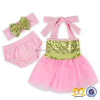 Baby Girl Pink Chiffon Party Dress +Bloomers+Bow Headband 3Pcs Sets Wholesale Gold Sequins Girls Frocks Design Dresses