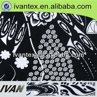 Black White printed 95 polyester 5 spandex fabric
