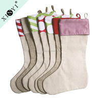 Promotional wholesale new design christmas gift personalized bulk burlap christmas stockings for home decor