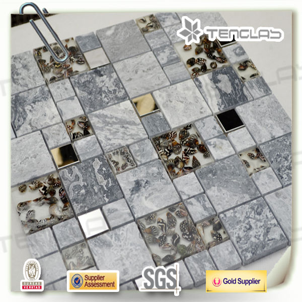 3d attractive mixing glass stone mosaic tile