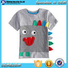 2016 Latest design grey boys summer t-shirts 100% organic cotton