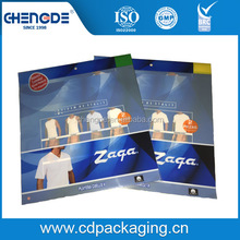 custom printed transparent material packaging pouch with resealable tape for T shirt