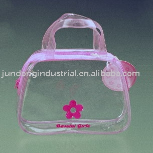 #C1049 clear PVC bag with handle for cosmetic sample