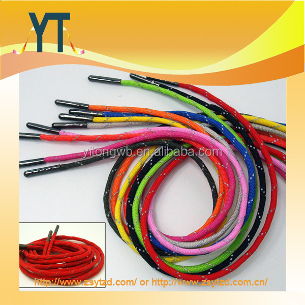 Rainbow Paracord Shoelaces Metal Tips Round Colorful Long Parachute Cord Shoe Laces