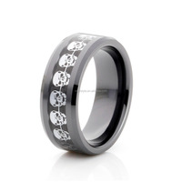8mm Men's black ceramic rings with stainless steel skull inlay