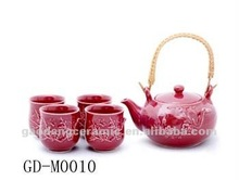red reactive glazed ceramic tea set with plum blossom painting