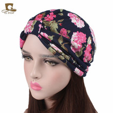 NEW Women's vintage cotton beanie Headbands flower Boho Printed Turban knotted Head WrapTJM-232