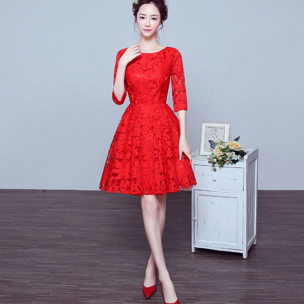 Short Sleeve Red Bridesmaid Lace Wedding Dress 2017