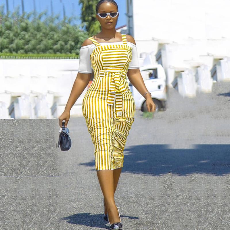 Striped long high waist women casual dresses