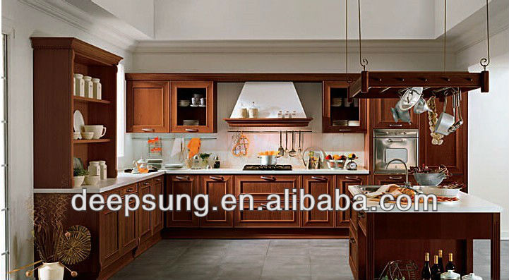 High quality vaneer solid wood kitchen cabinet with Island