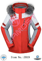 Waterproof and windproof womens fashion jacket with hood faux fur ski and snow jacket