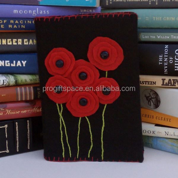 Eco friendly customized Red Poppies Felt Book Cover made in China
