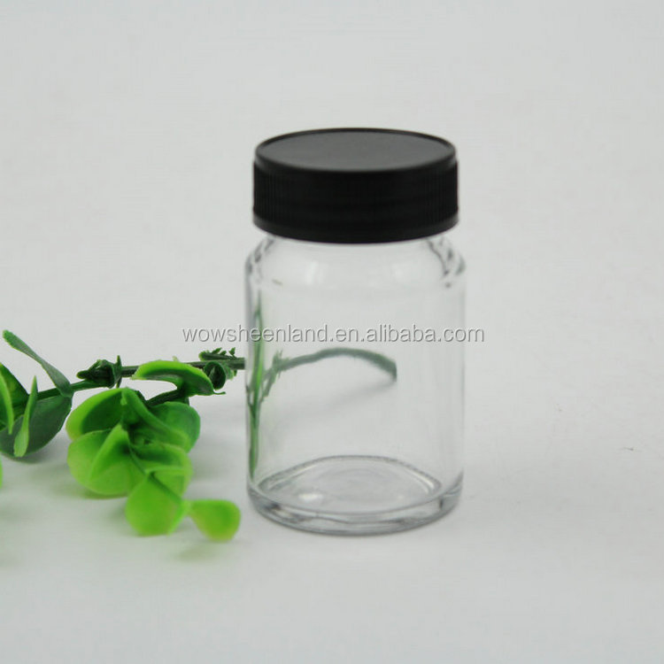 airtight 50ml clear transparent cylinder glass packaging pill bottle