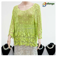 Soft blouse green color Summer sex wholesale pictures of girls cotton tops
