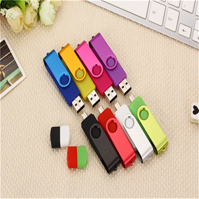 2018Factory Price High Quality Real Capacity Promotional Rotatable OTG USB Flash Drive 16G For All Smartphones