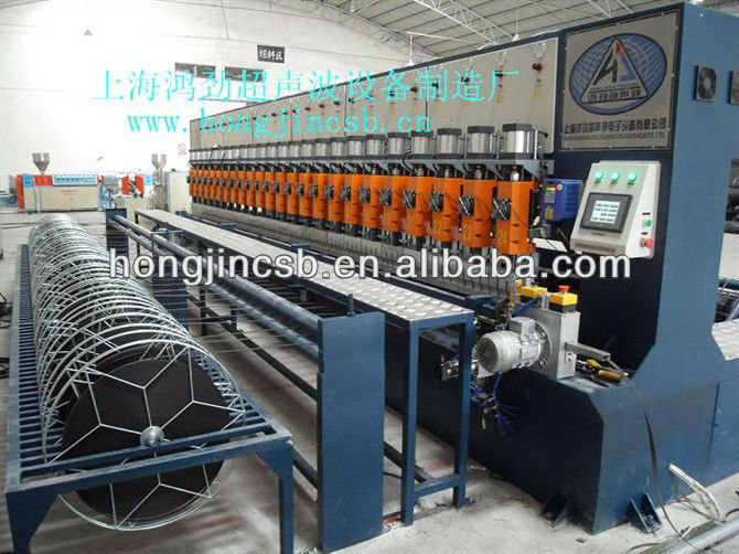 Warp knitted polyester geogrid welding machine with PVC coating
