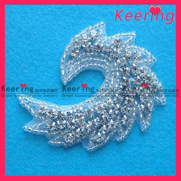 beaded crystal hot fix rhinestone trimming WRA-081