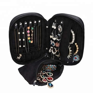 Zipper Carry-on Travel Jewelry Case Organizer with Removable Pouch