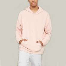 Custom mens french terry oversized dropped shoulder pullover hoodie with ribbed trims and drawstring hood