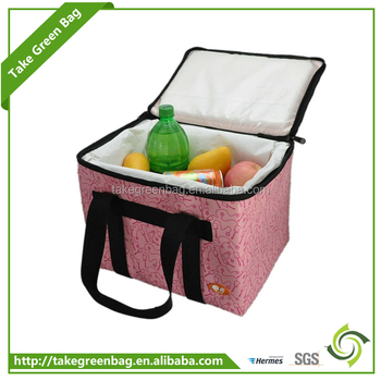 Handled with zipper food cooler tote bag for picnic