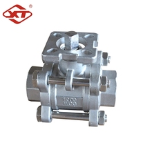 Stainless Steel 3 Piece Ball Valve With High Mounting Pad