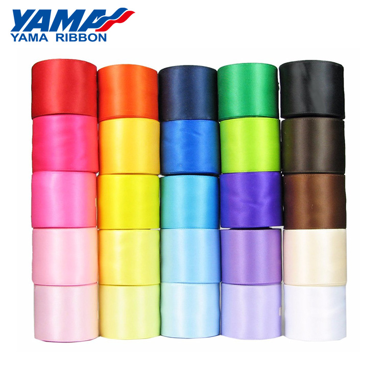Yama factory customized available polyester solid color 100 yards/roll stocked double faced 38 MM satin ribbon