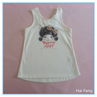 Children Girls OEM Cute Vest, Girls Fashion Summer Hot Vests Tops, Knitted Fabric Underwear Set