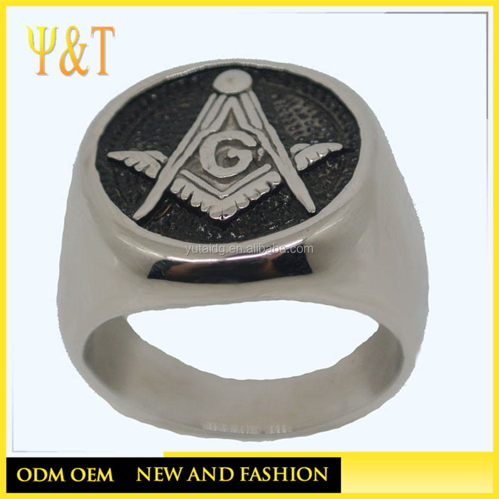 Jingli Jewelry cheap stainless steel custom engraved logo masonic rings for men