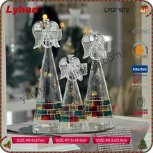 transparent glass angel candle holder for Christmas home decoration