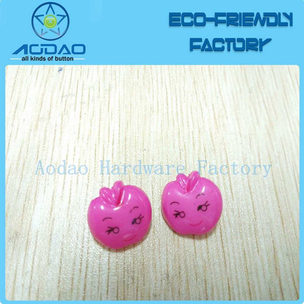 Yiwu Aodao Factory Plastic Apple Shape Button For Kids Children
