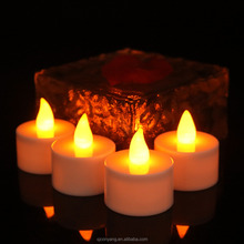 Rechargeable Led Candle Yellow Flickering Led Tea Light with Plastic Candle