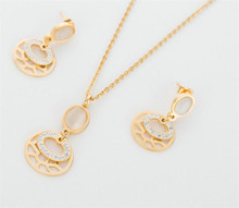 Gold Plated Fashion Delicate Diamond Pendant Necklace Earrings Sets for Ladies